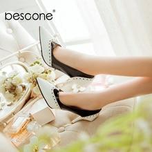 Bescone Gợi Cảm Mũi Nhọn Nữ Bơm Cao Cấp Bằng Sáng Chế Da Nông Mỏng Gót Giày Mới Thời Trang Nữ Bơm BM297