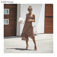 Women Halter Sleeveless Polka Dot Maxi Dresses Tunic Bandage Irregular Casual Summer Boho Clothes FeiDuYoung