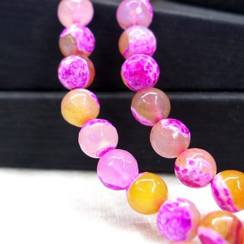 Natural Pink Ice Craked Agates Beads Round Loose Beads For Jewelry Making DIY Bracelet Necklace Accessories 8/10mm 15''/Strand image