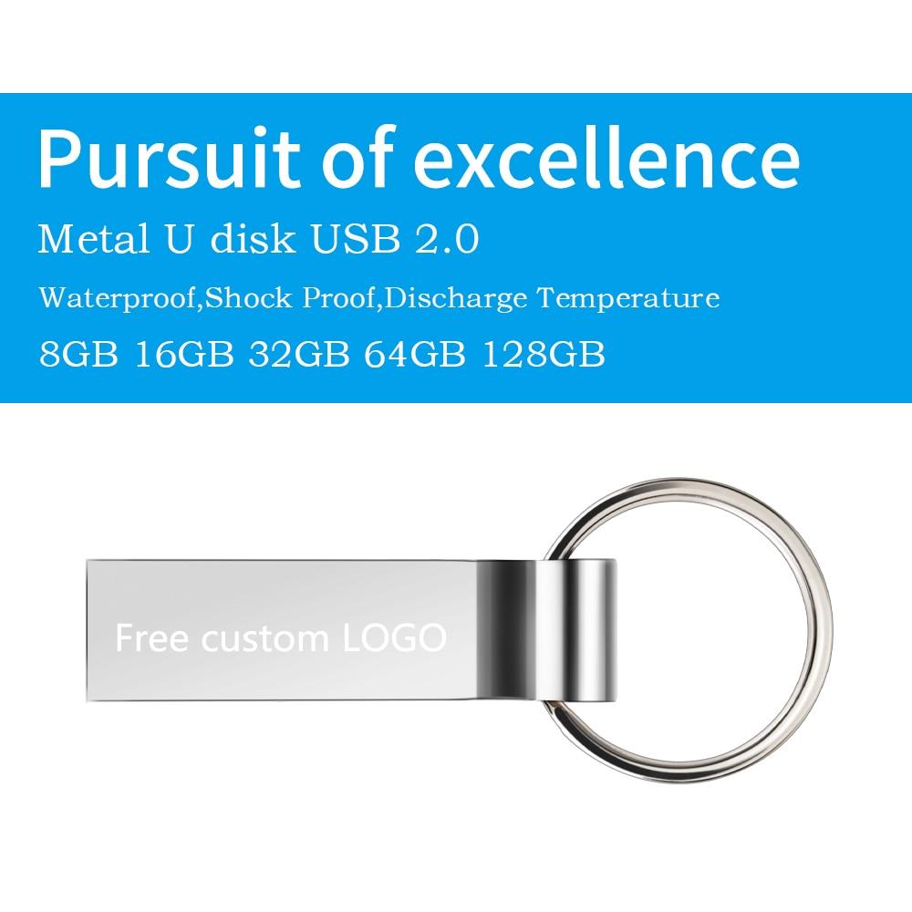 Hot metal pendrive 128GB 64GB usb flash drive 32GB 16GB Key pen drive 8GB flash memory stick cle usb 2.0 u disk Free print LOGO