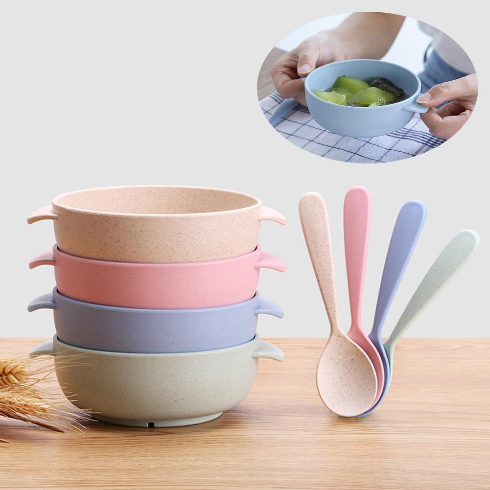 2Pcs/Set Baby Feeding Food Wheats Straw Handleds Bowl Spoon Training Tableware Children Hold Bowl Steadily With Small Hands