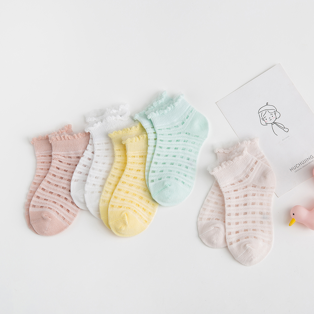 5Pairs/lot 2-9Y Baby Socks Summer Cotton Plaid Thin Kids Socks Solid Colorful Girls Mesh Cute Newborn Boy Toddler Socks Baby 1