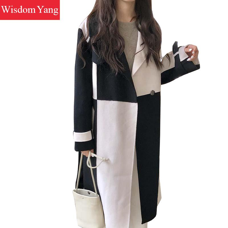 Winter Woman Coat Real Sheep Wool Cashmere Woolen Women Coats Tops White Black Oversized Plus Size Woollen Overcoat Coat Outwear