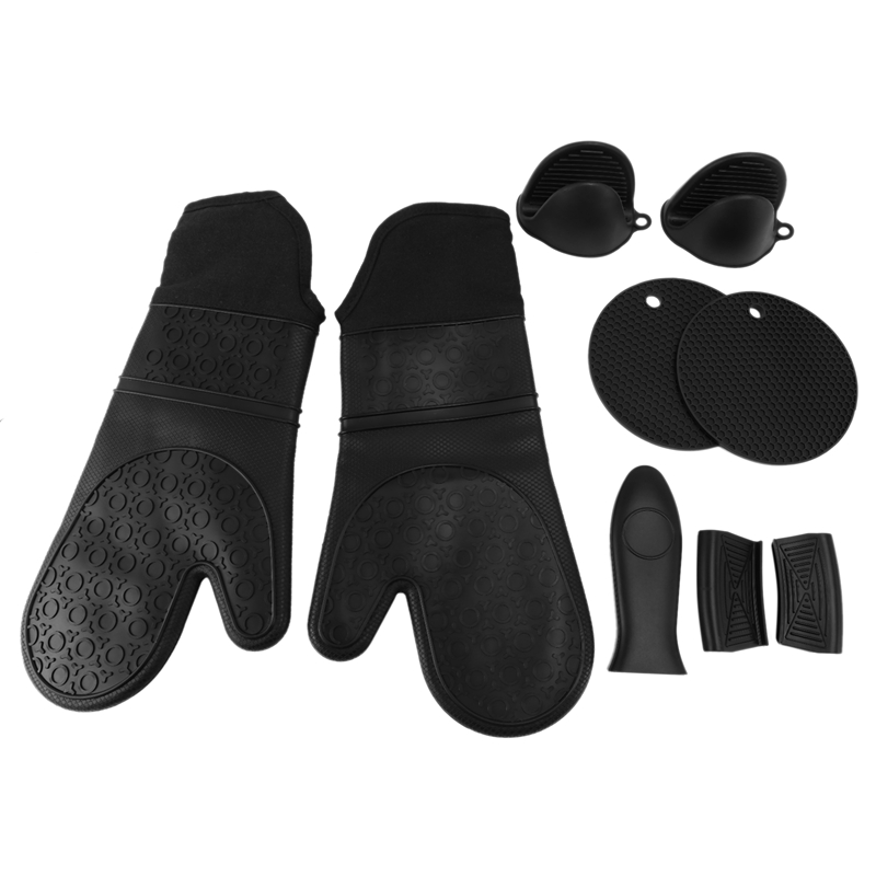 Extra Long Silicone Oven Mitts and Pot Holders Sets, Heat Resistant Oven Mitts with Quilted Liner, Mini Oven Gloves