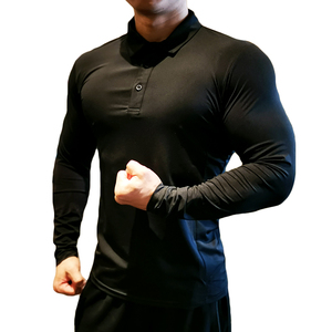 Image 5 - Quick Dry Corsa E Jogging Camicia Uomini Bodybuilding Sport T Shirt A Manica Lunga Compressione Top Palestra Fitness Stretto Compresson Polo Jetseys
