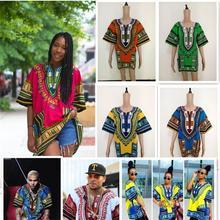 2020 Tops africanos para las mujeres moda hombres Africano tradicional ropa Hippie camisa caftán Vintage Unisex tribales superior Bazin Riche