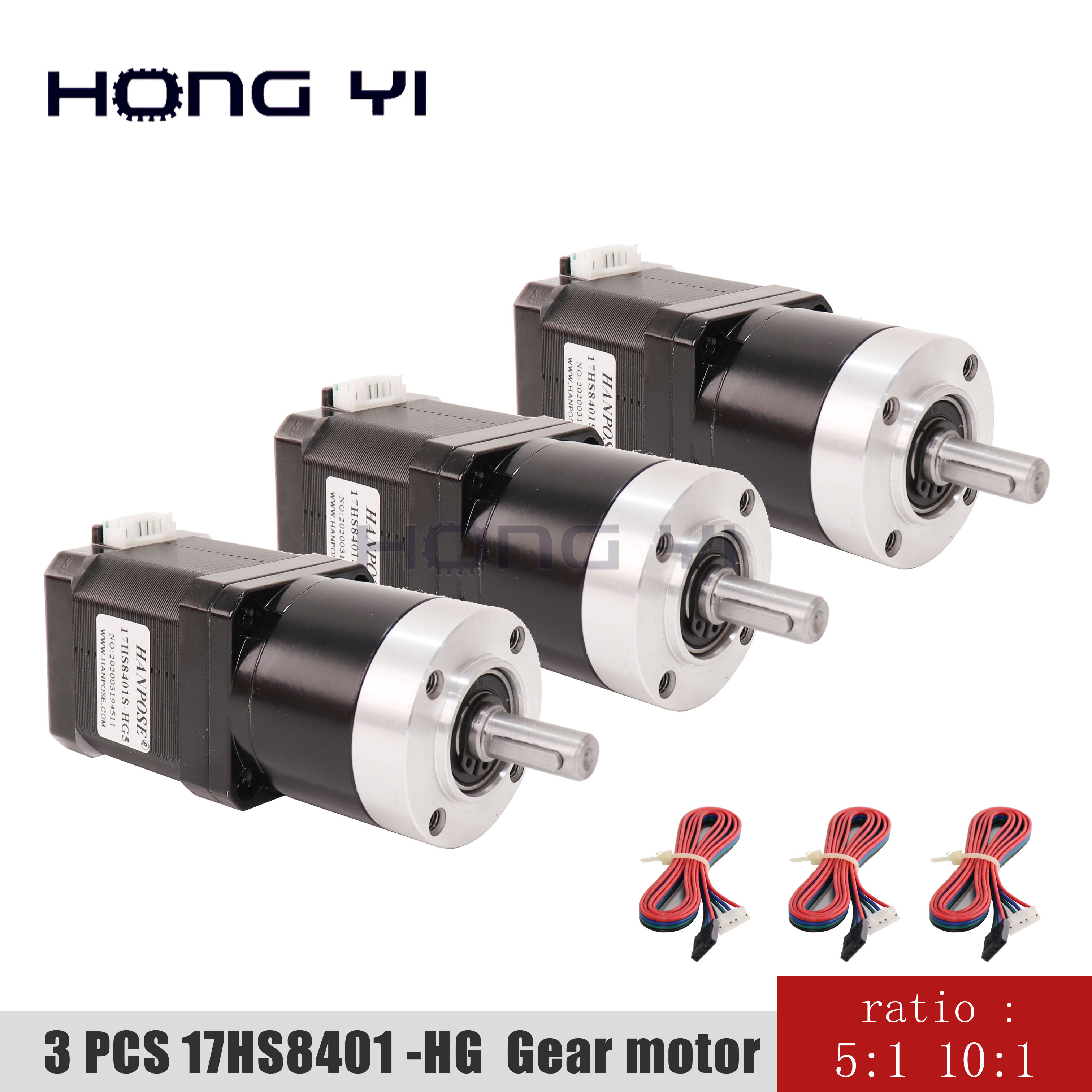<font><b>Nema17</b></font> High precision reduction motor <font><b>Gear</b></font> ratio 5-1 10-1 Planetary Gearbox stepper motor 3pcs17HS8401S-HG 3d printer motor image