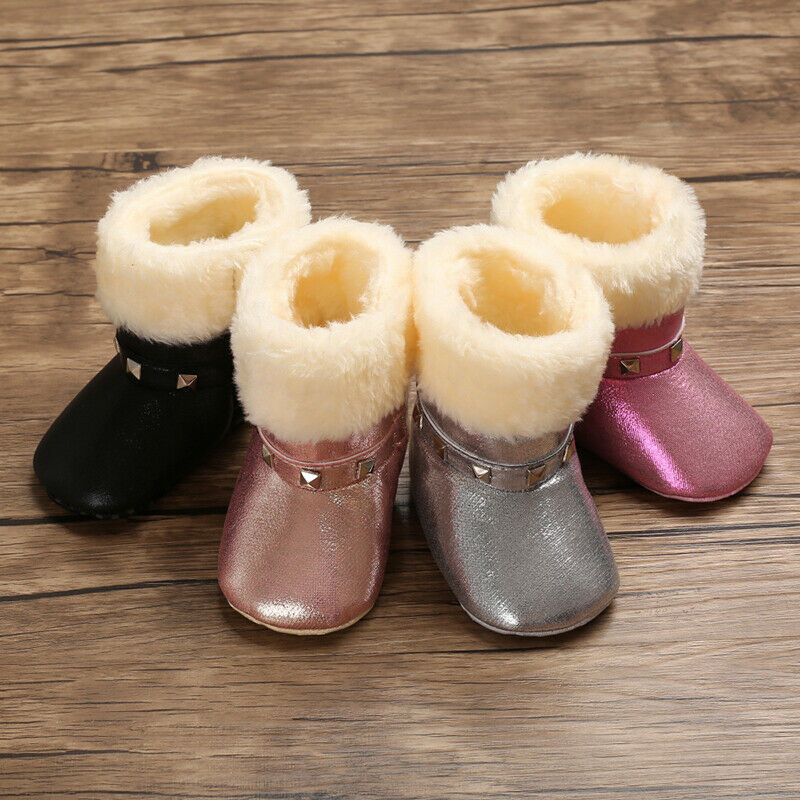 Baby Boots Boy Girl Warm Sequin Leather Snow Boots Kids Baby Winter Shoes Bootie 0-18Months