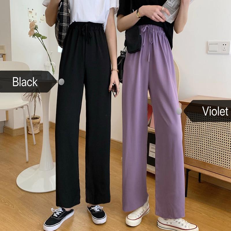 Women Violet Pants Spring Summer 2020 Casual Loose Lilac Trousers Thin Straight Pants Drawstring High Waist Drape Wide Leg Pants