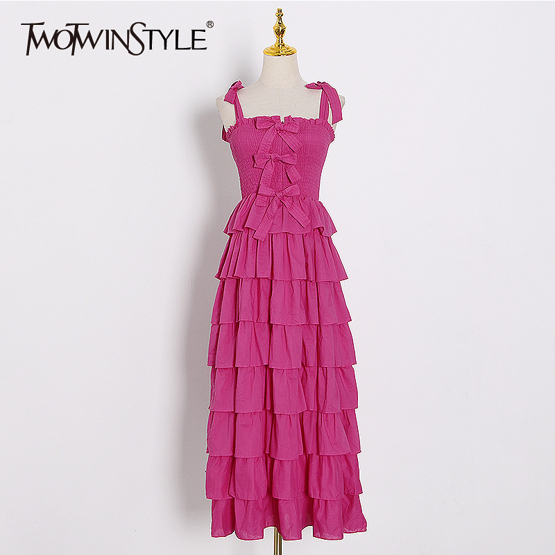 TWOTWINSTYLE Casual Summer Dress Women Square Collar Sleeveless Spaghetti Strap High Waist Patchwork Ruffles Bow Dresses Female