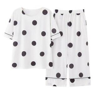 Image 1 - 100% Cotton Pajamas Women Pijama Sleepwear Female Pajamas Sets Summer Female Suit Short Sleeve Pyjamas Women Home Clothes