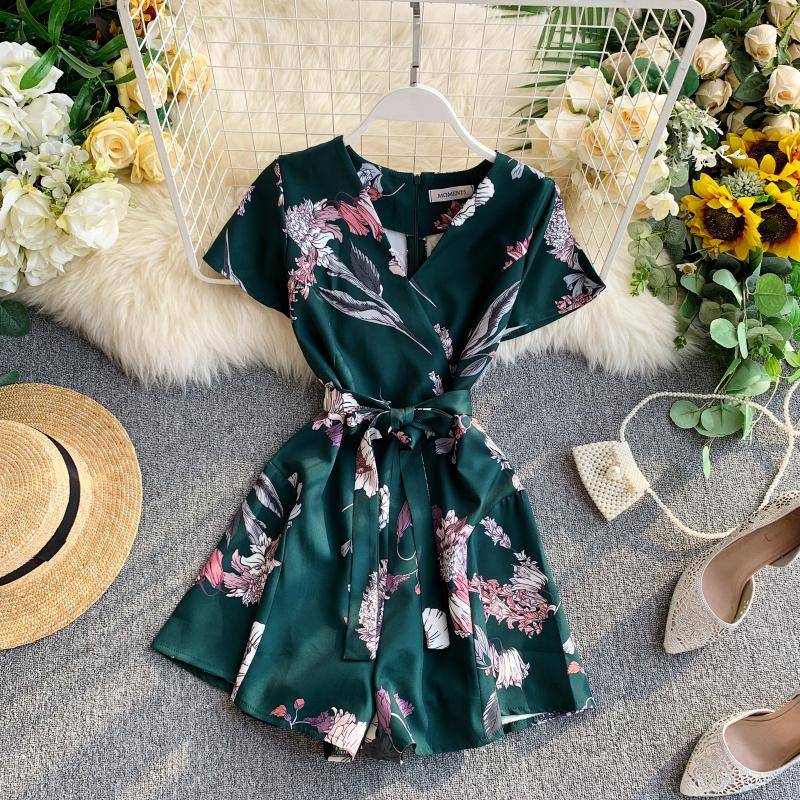 Vintage Boho Slim Floral Print 2020 V Neck Jumpsuit Casual Sexy Women Bandage Rompers Short Summer Playsuit Beach Holiday Romper