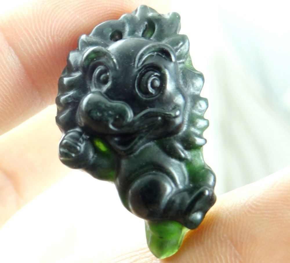 Colgante de signo del zodiaco chino JADE VERDE negro Natural accesorios de joyería de moda tallados a mano amuleto de la suerte regalos