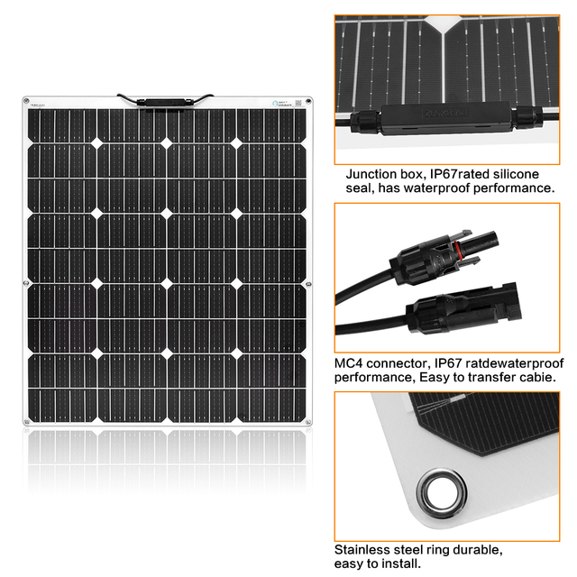 NEW 150W Flexible Solar Panel with 20A Controller No Inverter 4
