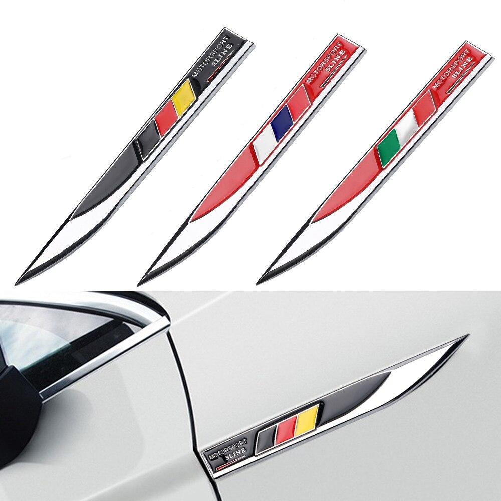 2 шт., автомобильный Стайлинг, Италия, Россия, Германия, Национальный флаг, эмблема, автомобильные металлические крылья, боковые наклейки, на...