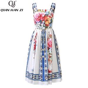 Женское подиумное платье Qian Han Zi, элегантное пляжное платье на бретелях-спагетти с вазой и цветочным принтом на пуговицах для отдыха на лето ...