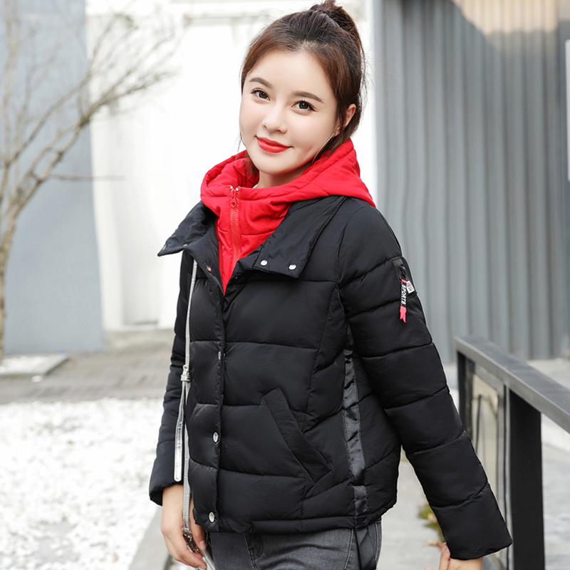 New Design 2019 Winter Jacket Women Stand Collar Female Outwear Padded Short Coat Patchwork Ladies Parka Mujer Invierno