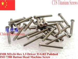 Image 3 - ISO 7380 Titanium screw M2x10 M2x12 M2x16 M2x18 M2x20 Button Head Hex 1.3 Driver Ti GR2 Polished 25 pcs
