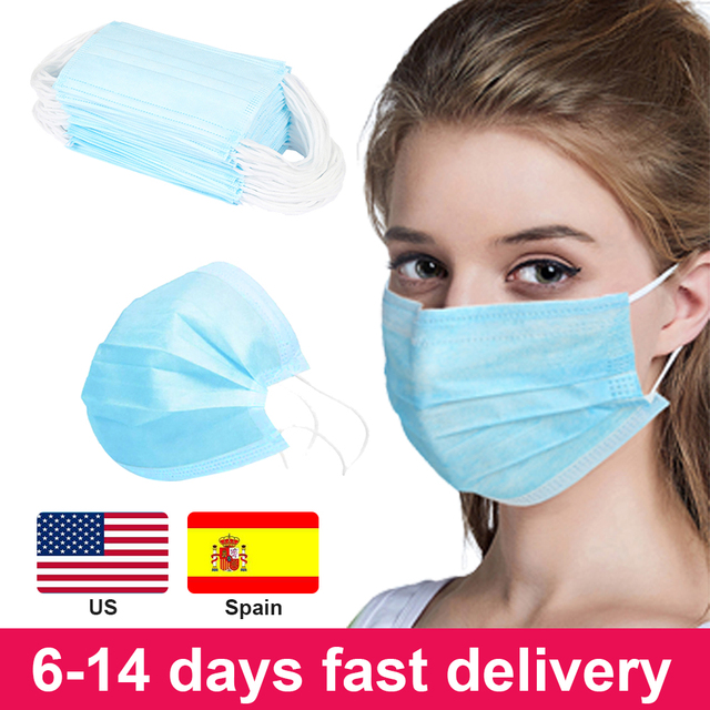 50/100Pcs Three-layer Protection Non Woven Disposable Dust Face Mouth Masks  Anti-Dust Earhook Mask Flu