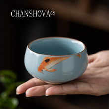 CHANSHOVA 90ml Traditional Chinese Style Crackle Ceramic Teacup Small Coffee Cups China Ru Kiln Porcelain H411(China)