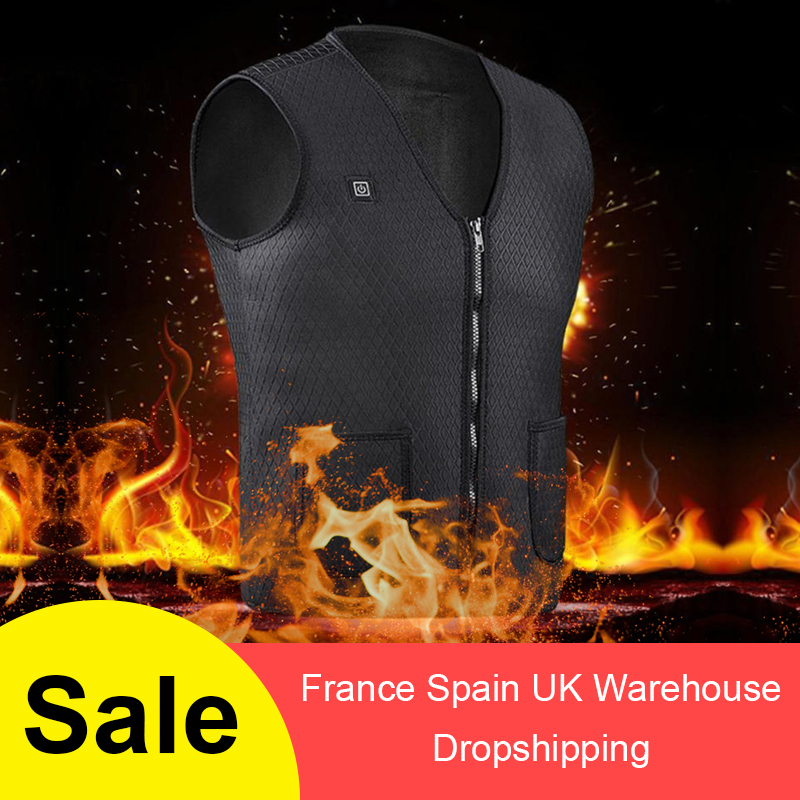 USB Infrared Heating Vest Outdoor Sports Jacket Flexible Electric Thermal Clothing Waistcoat For Men Women Winter Hiking