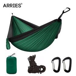 Hamaca de paracaídas portátil para acampada de 300x200 cm, Hamaca de supervivencia para jardín, muebles de exterior, cama doble colgante de viaje para ocio Hamaca