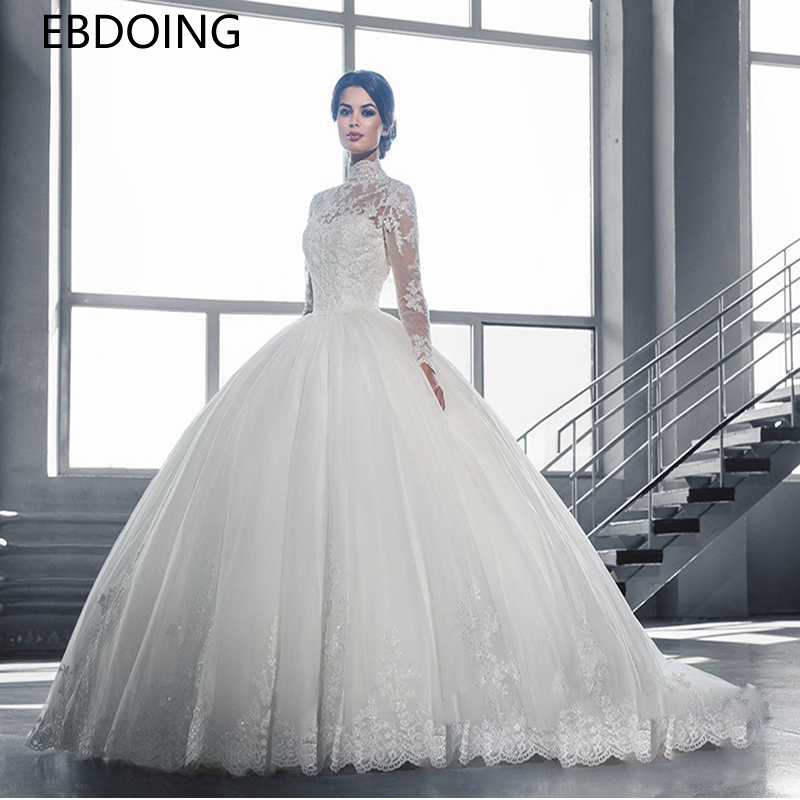 Luxurious Ball Gown Wedding Dress Lace High Neckline Vestidos De Novia Full Sleeves Newest Plus Size Wedding Gown Bride Dress