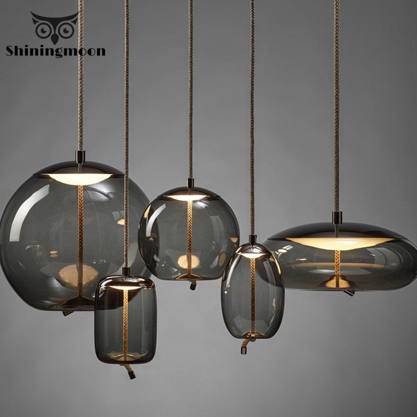 Vintage Home Decor Kitchen Pendant Lights Modern LED Glass Bar Hanging Lamps Dinning/Living Room Metal Art For Garden Luminaria