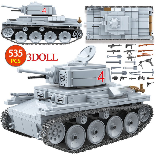601PCS WW2 Military City Building Blocks For SU-7M Tank Soviet Union BT-7L Light Tank Figures Blocks Toys for Boy