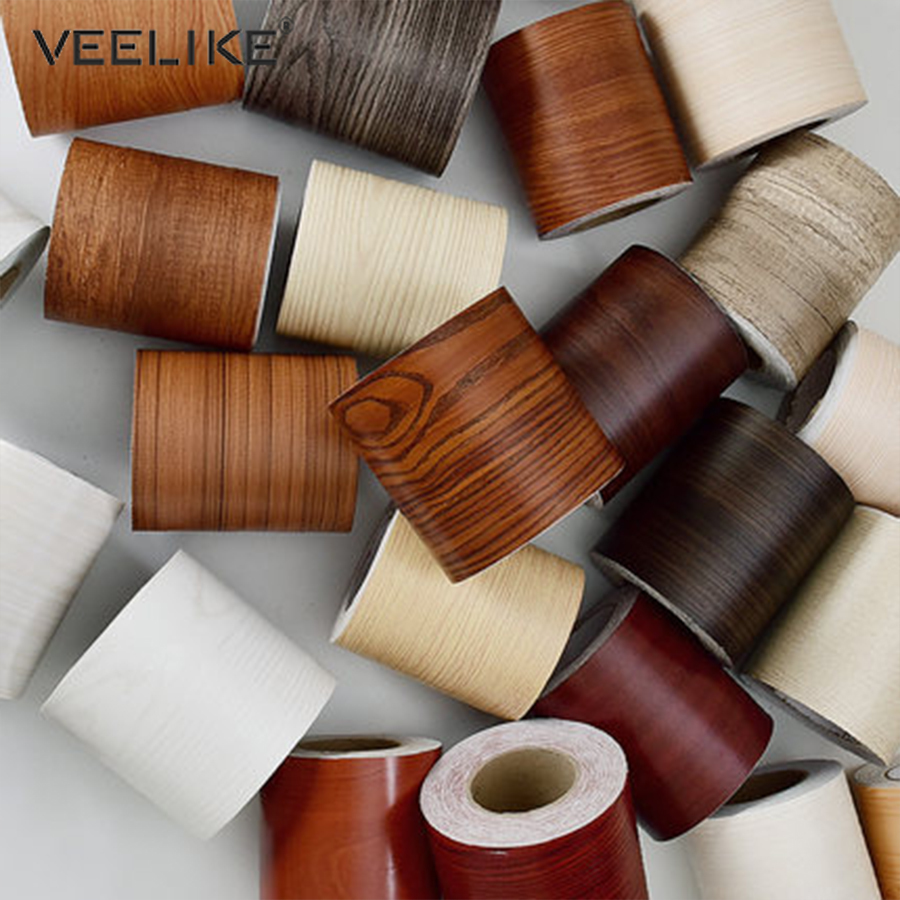 Wood Style Self Adhesive Floor Window Decals Living Room Decor Wall Border Skirting Stickers Waterproof Waist Line Wallpapers