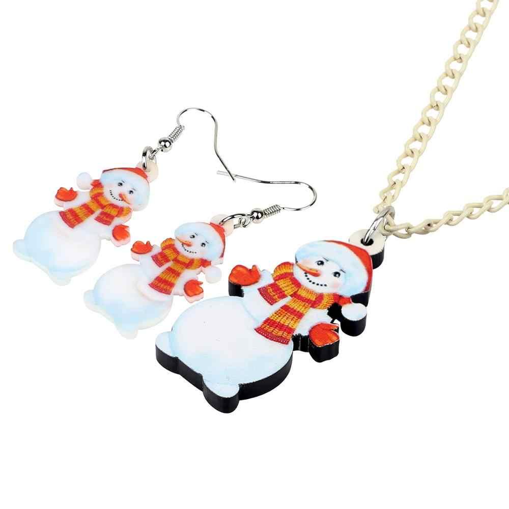 Bonsny Acrílico Doce Cachecol do Boneco de neve de Natal Conjunto de Jóias Colar Brincos Festival Decoração Jóias Senhora Menina Charme Presente 2019