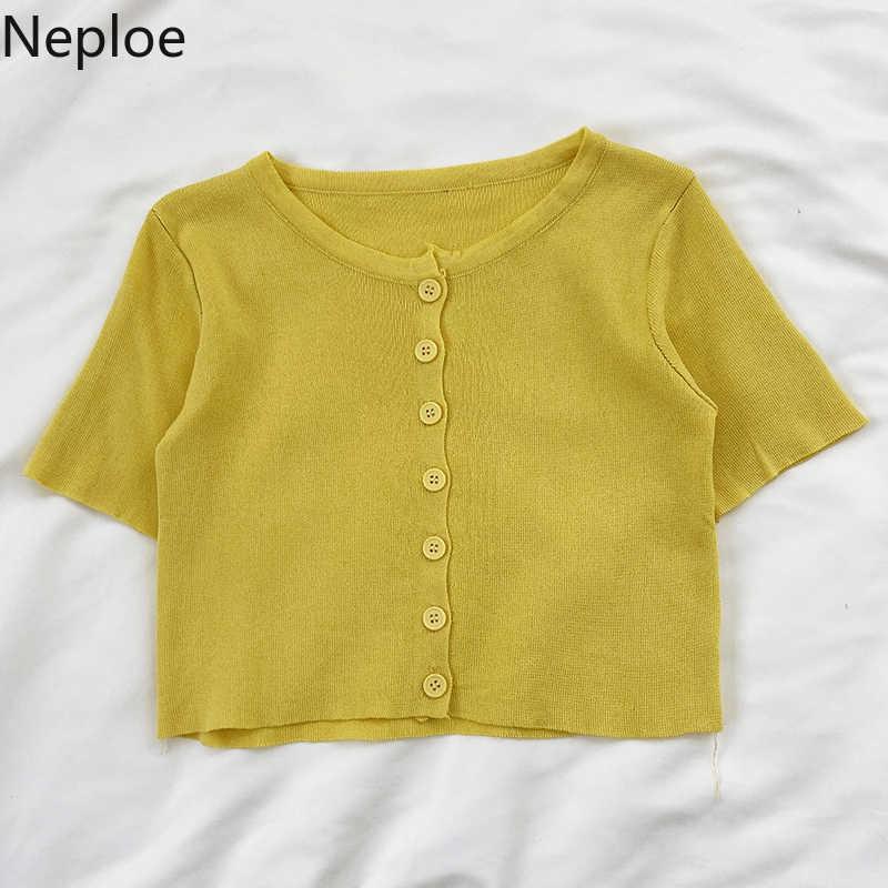 Neploe camisola de malha feminina sólido único breasted o pescoço cardigans primavera 2020 casaul solto manga curta feminino topos 1c735