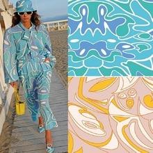 European and American brand new elegant line stretch satin women's clothing advanced custom digital printing fabric