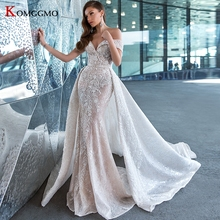 Wedding-Dress Detachable-Train Bridal-Gown Sweetheart-Neck Off-The-Shoulder Luxury Embroidery