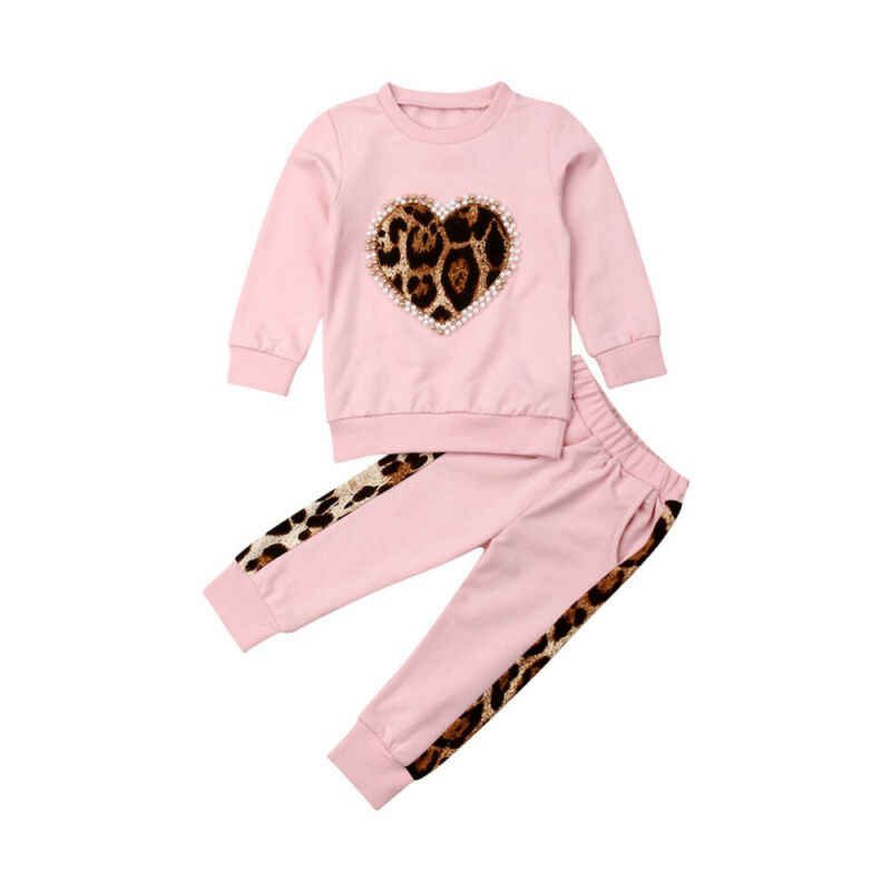 2019 Autumn Baby Girl Clothes Toddler Kid Baby Girl Winter Clothes Leopard love Tops Long Pants Outfit Tracksuit