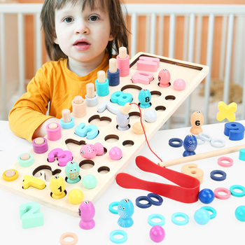 Children Wooden Toy Montessori Materials Learn To Count Numbers Matching Magnetic Fishing Game Early Education Teaching Math Toy flyingtown montessori teaching aids balance scale baby balance game early education wooden puzzle children toys