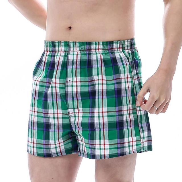 80% Hot Sell Summer Men Plaid Print Elastic Waistband Loose Boxers Beach Home Short Pants 1
