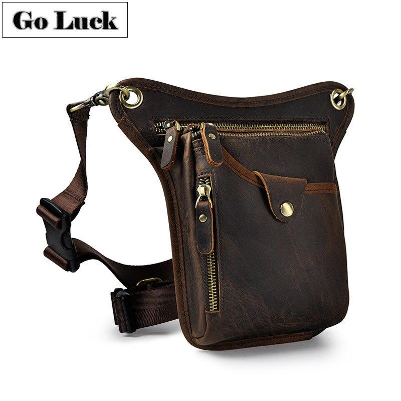 GO-LUCK Brand Genuine Leather Waist Belt Fanny Bag Men's Shoulder Messenger Bags Cell Phone Leg Gun Pistol Packs For Travel