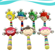 Natural solid wood colorful hand bell baby rattle bed rainbow color one word
