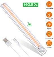 Luz LED con Sensor de movimiento para armario, lámpara de noche inalámbrica para cocina, recargable por USB, 160