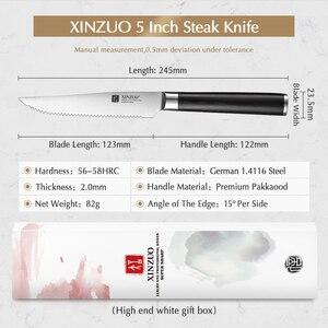 """Image 2 - XINZUO 1/4pcs zestaw noży do steków niemcy 1.4116 stal nierdzewna 5 """"calowy nóż kuchenny uniwersalny nóż z uchwytem Pakkawood"""