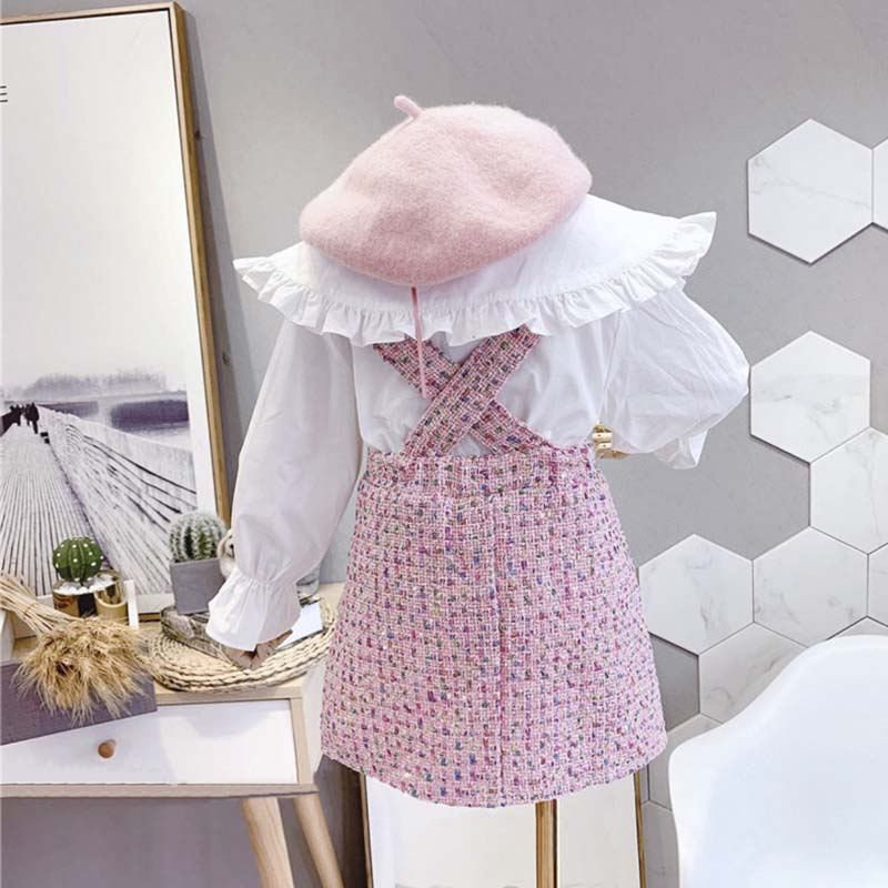 2021 spring Autumn New Arrival Girls Fashion 2 Pieces Suit Top+plaid Skirt Kids Clothes  Girl Set 2