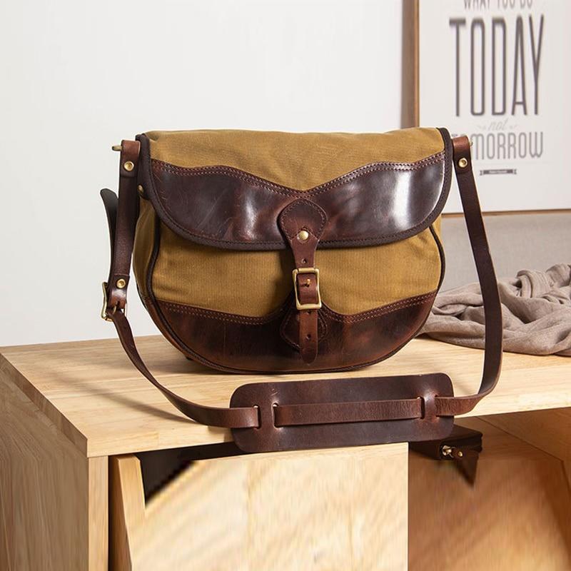 MAHEU Vintage Handmade Leather Shoulder Bag Leather Canvas Cross Body Bags For Men Male Cowhide Boy's School Bags Retro Men Bag