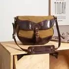 MAHEU Vintage Handmade Leather Shoulder Bag Leather Canvas Cross Body Bags For Men Male Cowhide Boy's School Bags Retro Men Bag - 1