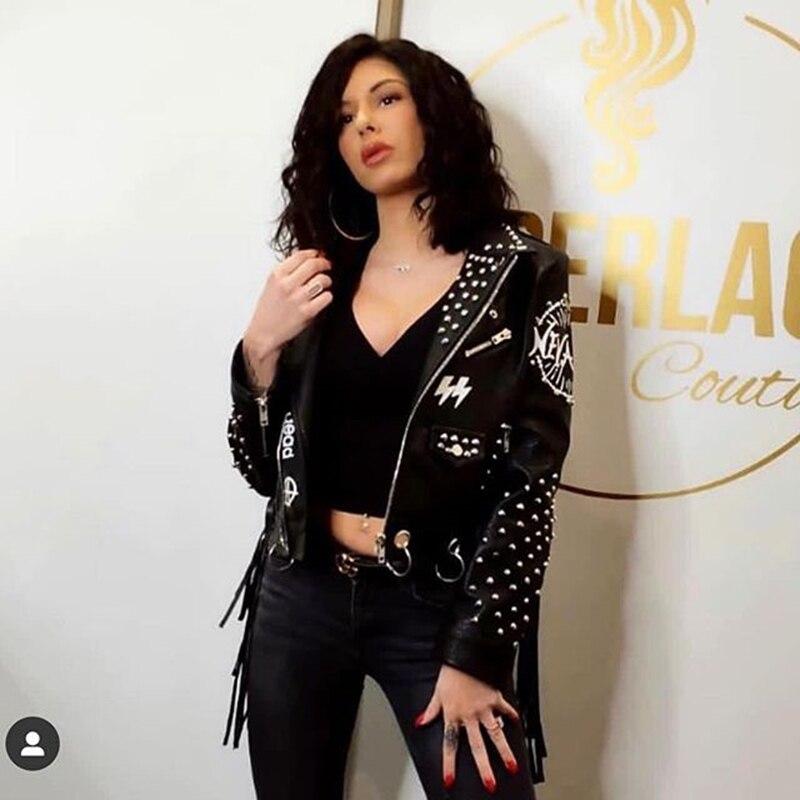 LORDLDS, женская черная кожаная куртка с кисточками, 2019, уличная одежда, на молнии, с заклепками, модный блогер, Панк куртки, женские пальто, верхняя одежда - 3
