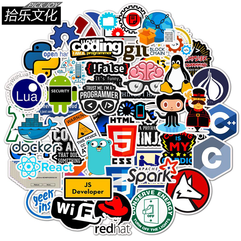 50pcs Programmer IT Workers Stickers For Guitar Laptop Skateboard Trunk Luggage Decals Bicycle Motorcycle Graffiti Sticker Toys