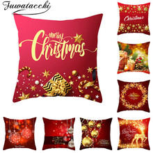 Fuwatacchi NEW Year Printed Cushion Cover Christmas Gift Decorative Pillow Covers for Home Sofa Throw Pillowcases 45*45cm fuwatacchi christmas pattern cushion new year cover pillow covers gift decorative for home sofa polyester soft throw pillowcases