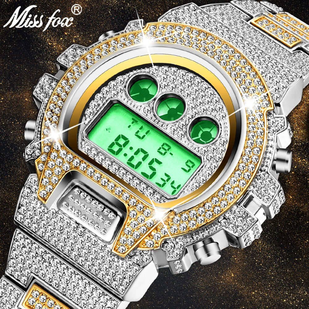 MISSFOX Luminous Watch Men Digital Mens Watches Led Electronic Gold Silver Wrist Watch Waterproof Iced Out Diamond Male Watches