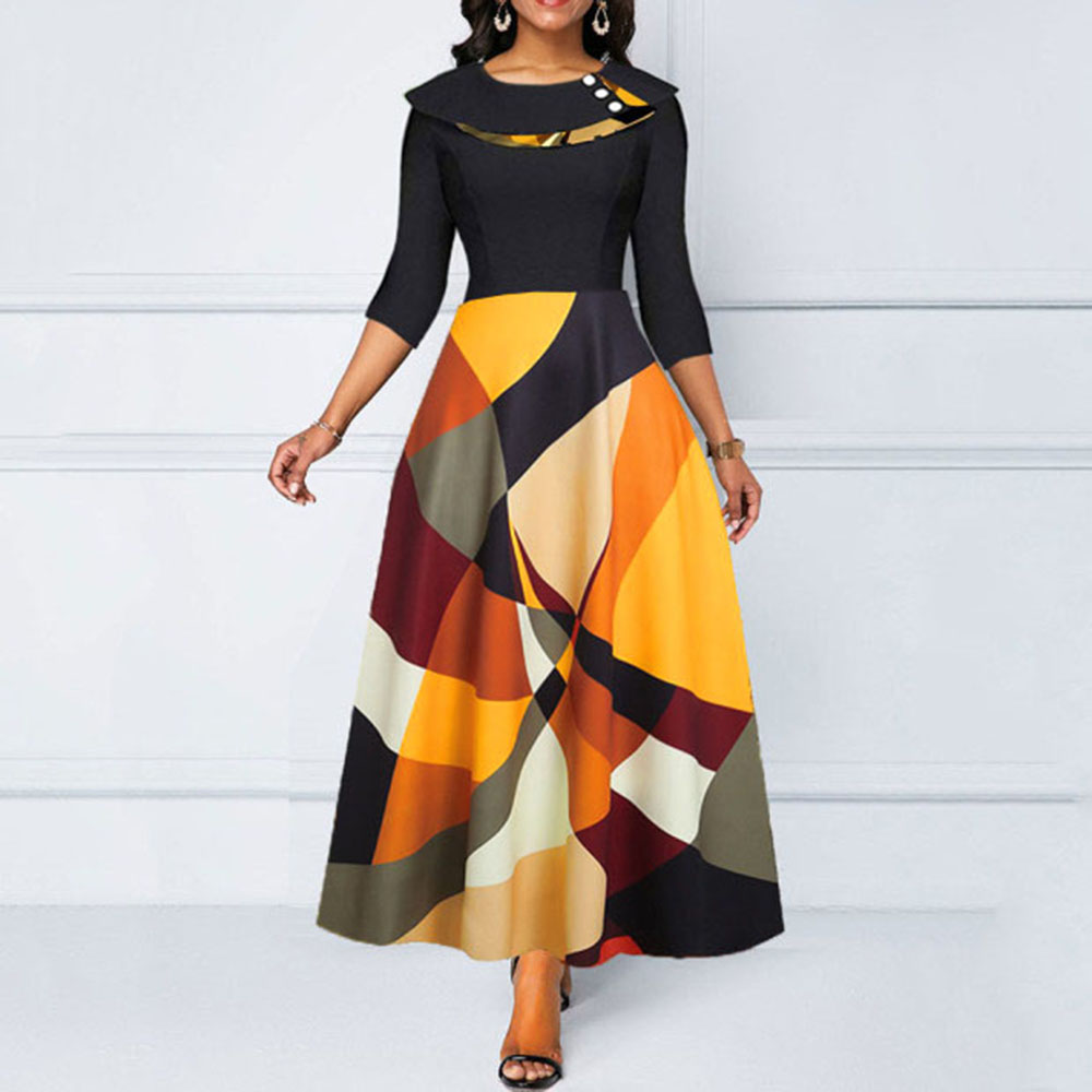 Women Spring Summer Long Dress 2020 Vintage Color Block A Line Draped Retro Office Ladies Pin Up Female Maxi Dress Plus Size