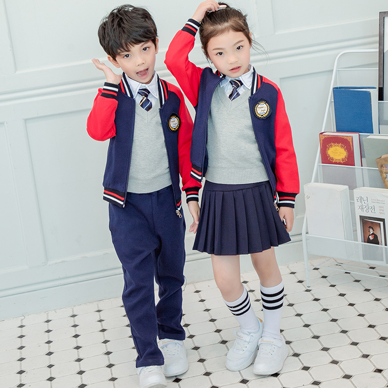 Children School Uniform Customization Primary School STUDENT'S Autumn And Winter Sports Clothing Set Casual Baseball Uniform Kin